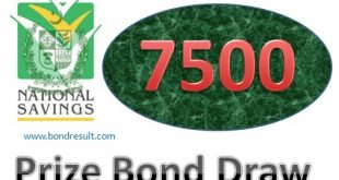 7500 RS. Prize Bond List 2019