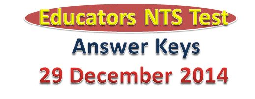 ESE SESE SSE Educators NTS Test Answer Keys 29th Dec, 2014