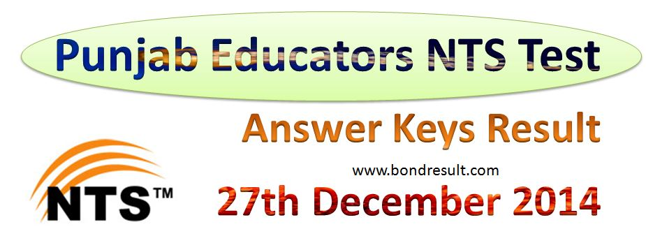 Download the Result of NTS Test Answer Keys Result 27th December 2014