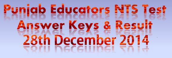 Educators NTS Test Answer Keys 28th Dec 2014