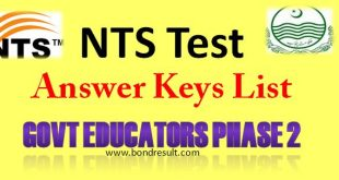 NTS Result (Answer Key) for the Educators Phase II January 18, 2015