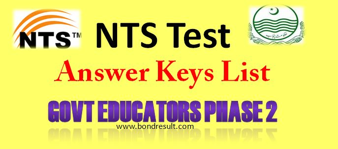 Online Govt Educators Phase 2 Nts Test Answer Keys 16 Jan, 2015