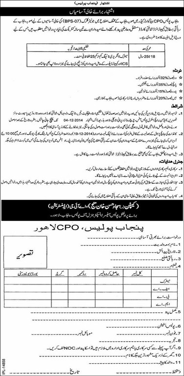 Punjab Police CPO Jobs 2015 Junior Clerk Test Interview