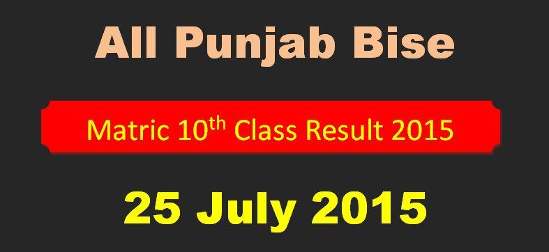 All Pakistan Punjab BISEs Boards Matric Result 2015