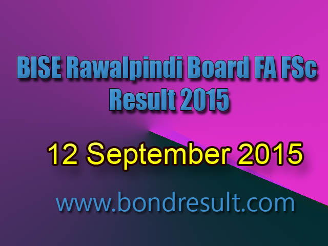 BISE Rawalpindi Inter FA FSc Part-2 12th Class Result 2019