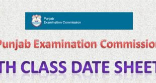 PEC 5th Class Date Sheet 2016