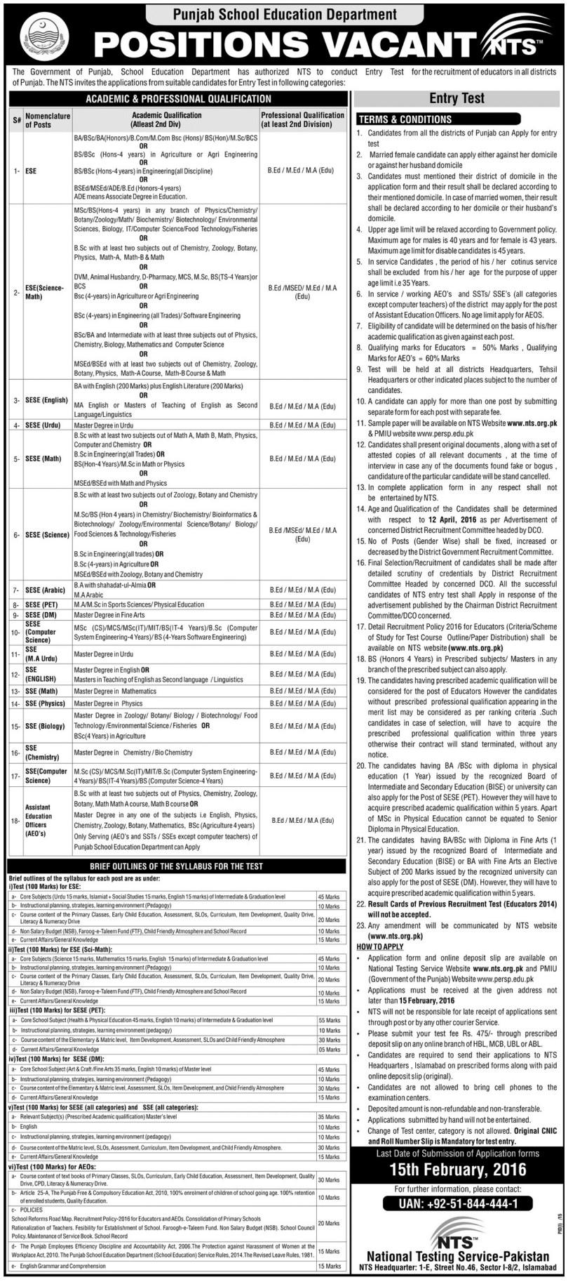 NTS Punjab School Education Department Teachers Jobs