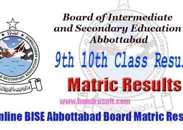 BISE Abbottabad Board 9th & 10th Class Annual Matric Result 2017