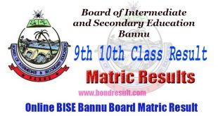 BISE Bannu Board 9th 10th Class Result 2017