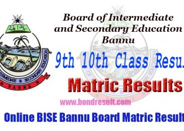 BISE Bannu Board 9th & 10th Class Annual Matric Result 2017