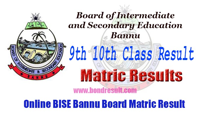 BISE Bannu Board 9th 10th Class Result 2018