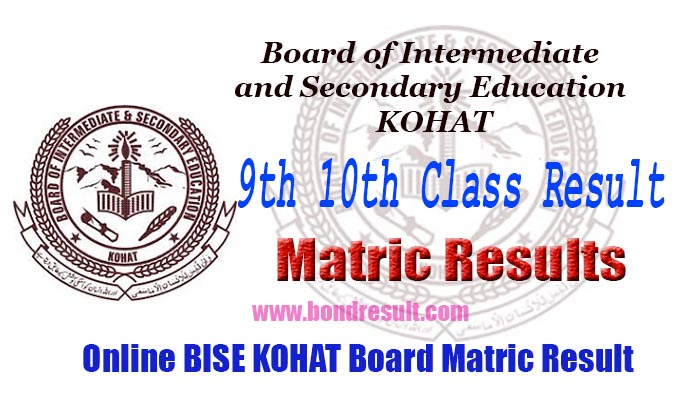 BISE Kohat Board 9th 10th Class Result 2018
