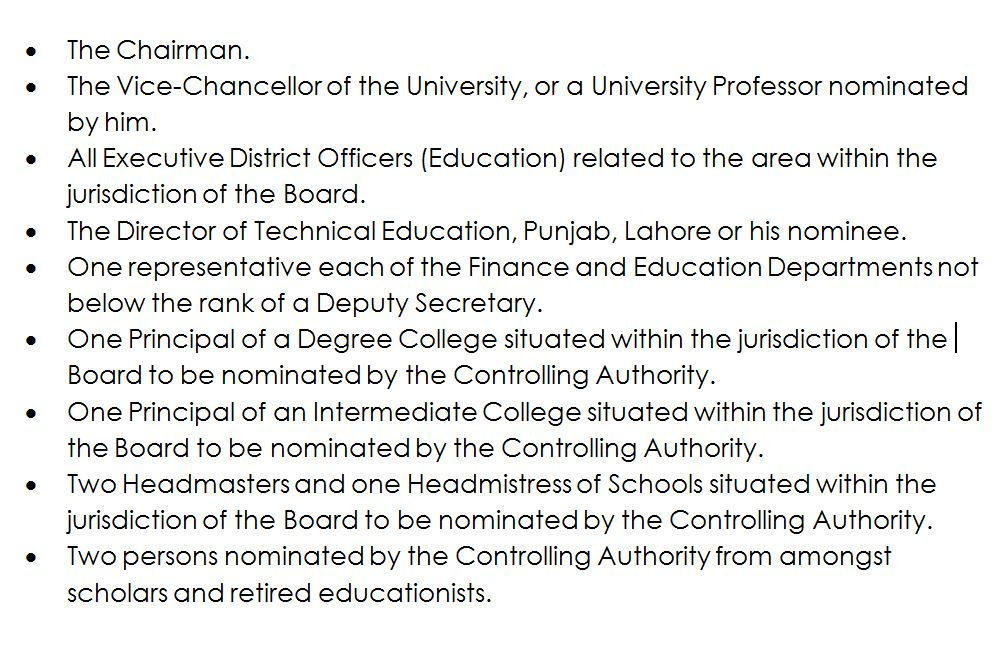 board of intermediate and secondary education, lahore constitution of the board