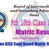 BISE Swat Board 9th & 10th Class Annual Matric Result 2017