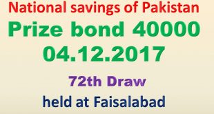 Prize Bond Draw Rs. 40000 72th List 1st December 2017 Faisalabad
