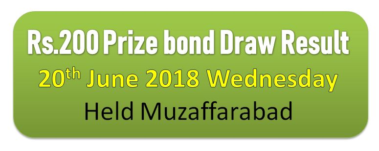 Rs. 200 Prize Bond, Result Of Draw # 74 List, 20 June 2018 Declared
