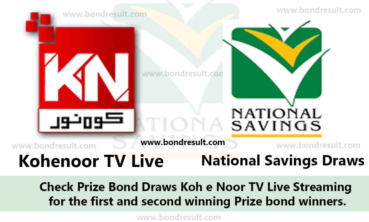 Kohenoor TV, Prize bond Draw Live Streaming from Pakistan