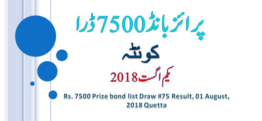 Rs. 7500 Prize Bond Draw List Quetta 01 Aug 2018 Result