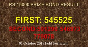 Rs. 15000 Prize Bond Draw On 1st October 2018