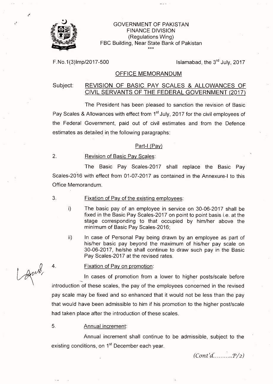 1 5 4 Finance department Salary Increase and Revised Pay Scale notification in Budget 2018-2019.