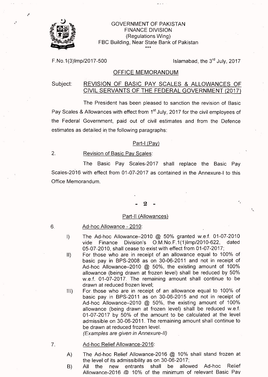 2 Finance department Salary Increase and Revised Pay Scale notification in Budget 2018-2019.