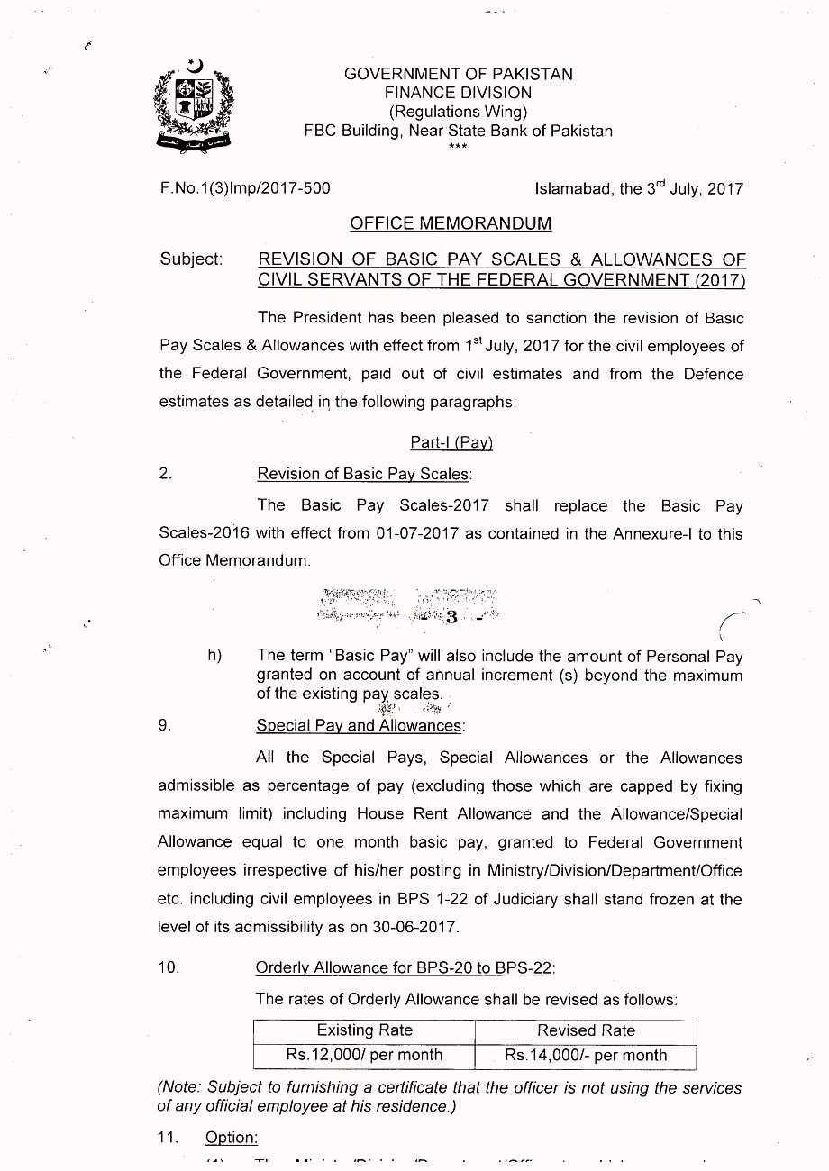 3 Finance department Salary Increase and Revised Pay Scale notification in Budget 2018-2019.