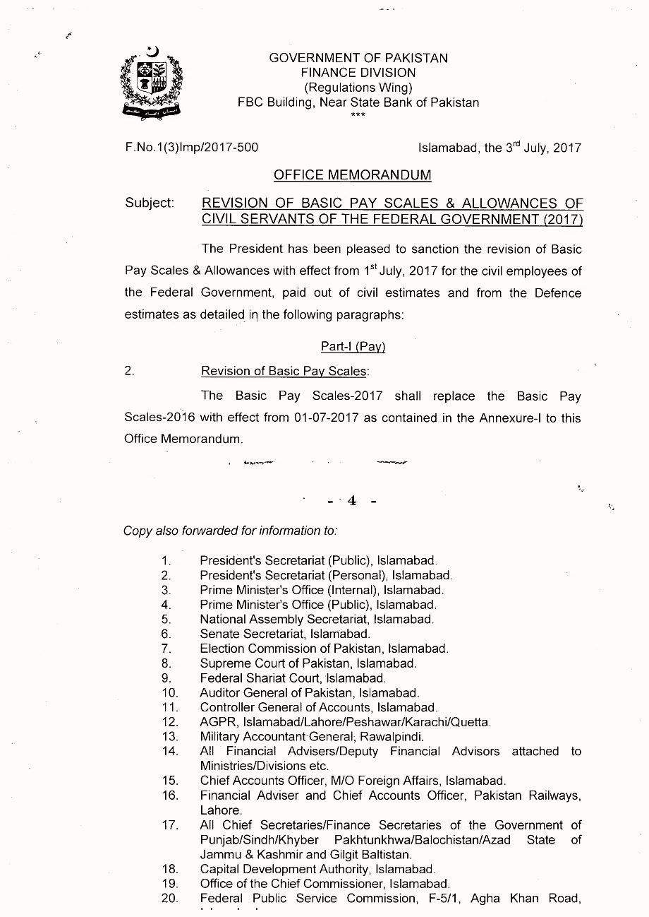4 Finance department Salary Increase and Revised Pay Scale notification in Budget 2018-2019.