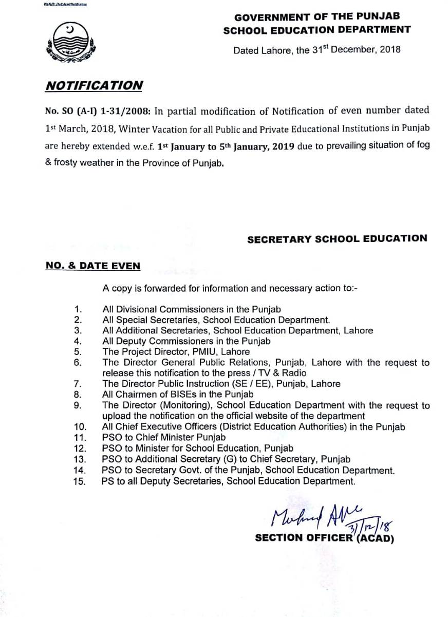 Extension in Winter Holidays Punjab Schools