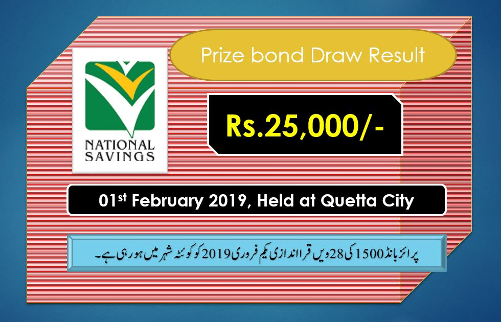 Rs. 25000 Prize bond list Draw #28 Result, 01 February, 2019 Quetta