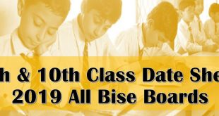 Download BISE Board 9th 10th Class Date Sheet 2019