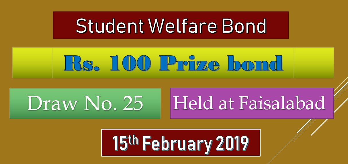 Rs. 100 Prize Bond List Draw no. 25 On 15-02-2019 Faisalabad