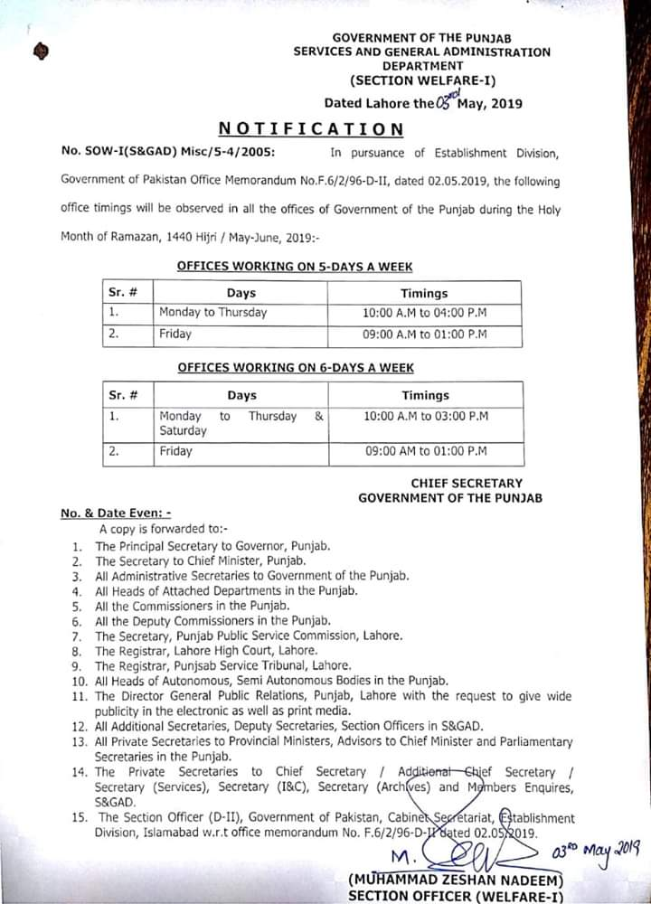 Govt Announces Office Timings for Ramadan 2019
