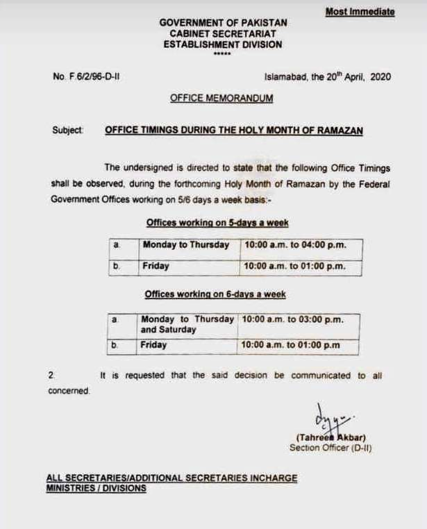Ramzan Office timings 2020 by Federal Govt