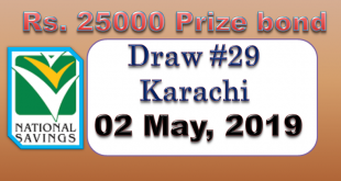Prize Bond List 25000 - Draw # 29 Result 2nd May, 2019