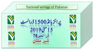 Rs. 1500 Prize bond list Draw #78 Result, 15 May, 2019 Multan