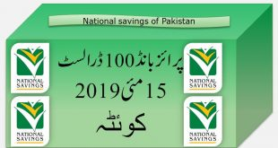 Rs. 100 Prize bond list Draw #26 Result, 15 May, 2019 Quetta