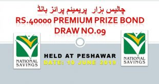 Rs. 40000 Premium Prize bond Draw #09, 10/06/2019 Peshawar