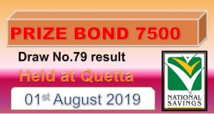 Rs. 7500 Prize bond Result 01 August 2019 Quetta Draw #79 list