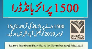 Rs. 1500 Prize bond list Draw #80 Result, 15 November, 2019 Faisalabad
