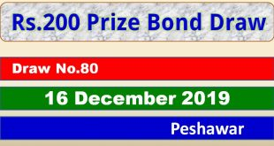 Draw 80, Rs. 200 Prize Bond List, dated 16-12-2019