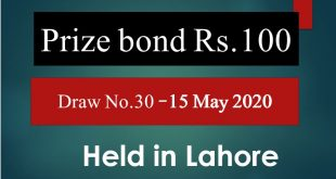 Draw # 30 Rs 100 Prize Bond Held in Lahore on 15-05-2020