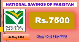 Rs. 7500 Prize bond list Draw #82 Result, 04 May, 2020 Peshawar