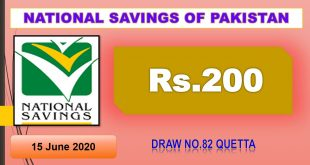 Search Draw # 82 Rs 200 Prize Bond Held in Quetta on 15-06-2020 by Savings.gov.pk