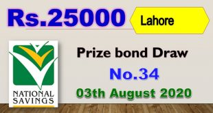 Rs. 25000 Prize bond list Draw #34 Result, 03 August, 2020