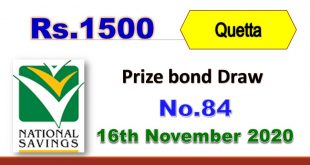 Rs. 1500 Prize bond list Draw #84 Result, 16 November, 2020