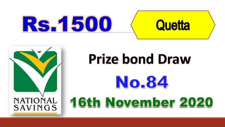 Rs. 1500 Prize bond list Draw #84 Result, 16 November, 2020