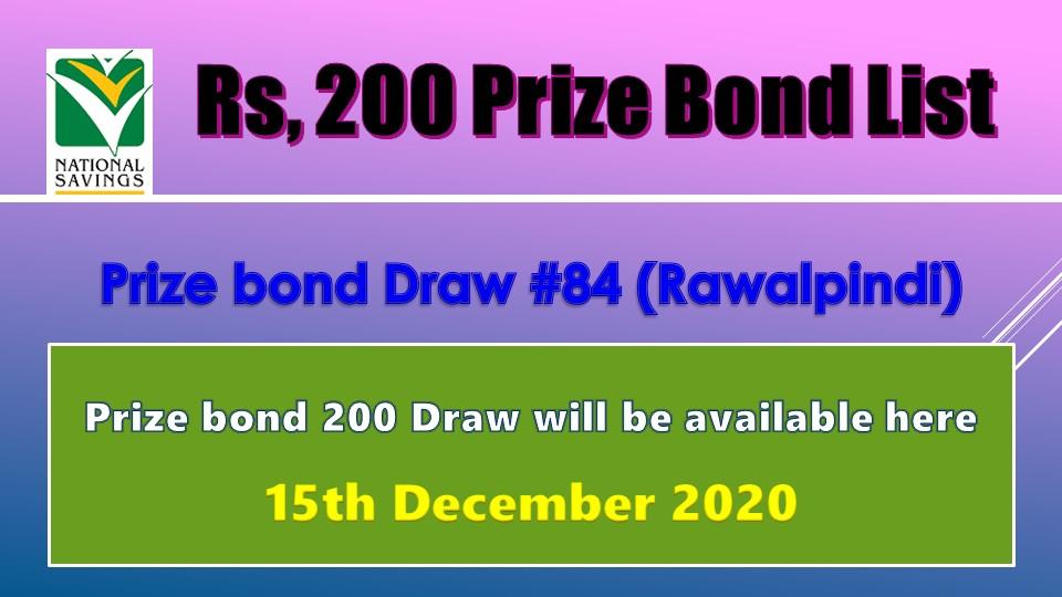 Rs. 200 Prize bond list Draw #84 Result, 15 December, 2020