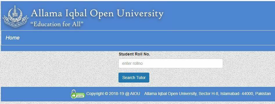 AIOU Tutor Names and Addresses 2021