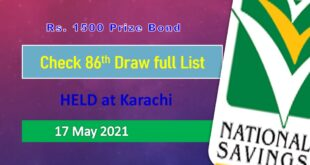 Rs. 1500 Prize bond list Draw #86 Result, 17 May, 2021 Karachi