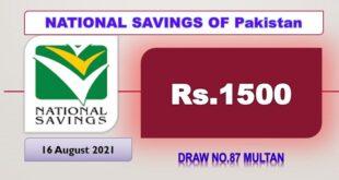 Rs. 1500 Prize bond list Draw #87 Result, 16 August, 2021 Multan